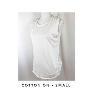 Cotton On Small Sleeveless White Shirt Hi Low
